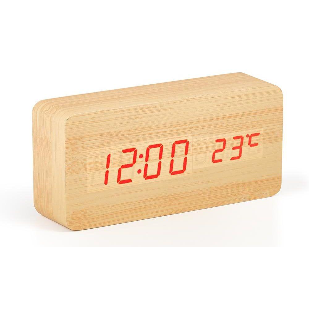 ... Ξύλινο Επιτραπέζιο Ρολόι Ξυπνητήρι με Αισθητήρα Ήχου και Δόνησης -  Ημερολόγιο και Θερμόμετρο (Ρολόγια) ... d2e75726465