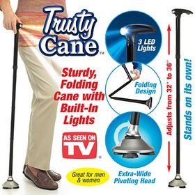 Σπαστό μπαστούνι με φως led και περιστρεφόμενη βάση - Trusty Cane (Υγεία & Ευεξία)
