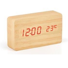 Ξύλινο Επιτραπέζιο Ρολόι - Ξυπνητήρι με Αισθητήρα Μεγάλο (Ρολόγια)