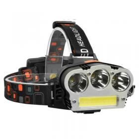 Επαναφορτιζόμενος Φακός Κεφαλής με 3xΤ6 LED + 1xCOB (Φωτισμός)