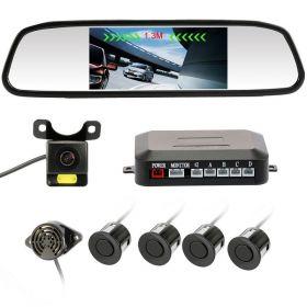 """Σετ Αισθητήρες Παρκαρίσματος, Καθρέφτης με Οθόνη LCD 4,3"""" και Κάμερα Οπισθοπορείας LED (Αξεσουάρ αυτοκινήτου)"""