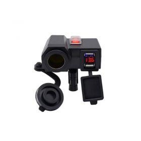 Αδιάβροχος Φορτιστής με 2x USB, Αναπτήρα 12V & Βολτόμετρο Μοτοσυκλέτας (Αυτοκίνητο - Μηχανή - Σκάφος)