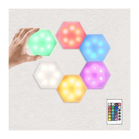 Εξαγωνικό Επιτοίχιο Φωτιστικό LED Αφής 6 Τεμαχίων με Τηλεχειριστήριο (Φωτισμός)