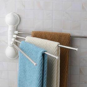 Κρεμάστρα 4 Θέσεων για Πετσέτες Μπάνιου με Μηχανισμό Βεντούζας (Οργάνωση σπιτιού)