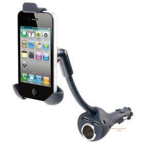 Περιστρεφόμενη Βάση Κινητού για τον Αναπτήρα του Αυτοκίνητου με 2 θύρες USB (Αξεσουάρ αυτοκινήτου)