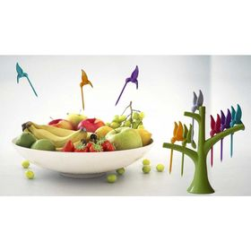 Πλαστικές Οδοντογλυφίδες Φρούτων Σετ 6 τμχ με Βάση (Κουζίνα )