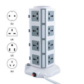 Κάθετο Πολύμπριζο 16 Θέσεων για Όλους τους Τύπους Πριζών με 2 Ενσωματωμένες Θύρες USB (Ηλεκτρολογικά - Υδραυλικά)