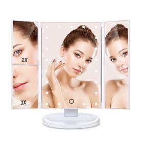 Τριπλός Καθρέφτης Ομορφιάς Με Μεγέθυνση και Φωτισμό 22 LED (Ομορφιά)
