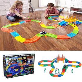 Αυτοκινητόδρομος 360 Τεμαχίων και 2 Αυτοκινητάκια με Φωτισμό LED- Magic Tracks Mega Set (Παιδί)