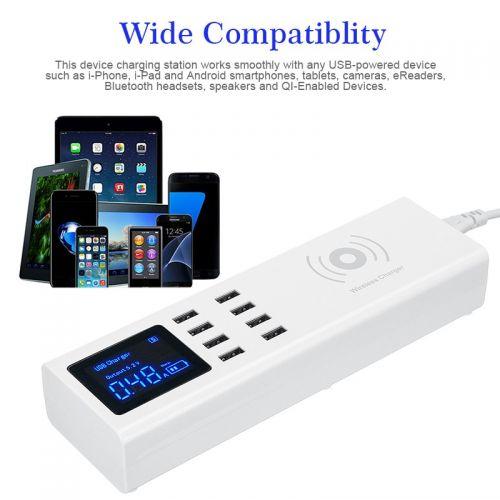 Πολυφορτιστής με Ασύρματη Φόρτιση, 8 Θύρες USB, και Οθόνη LCD (Κινητά & Αξεσουάρ)