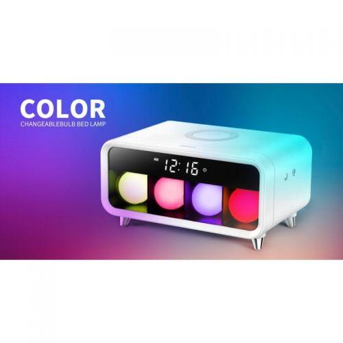 Επιτραπέζιο Ψηφιακό Ρολόι με Ασύρματη Φόρτιση για Κινητά, Ξυπνητήρι και Χρωματιστό Φωτισμό (Ρολόγια)