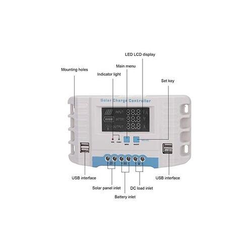 Ρυθμιστής Φόρτισης με Οθόνη LCD 20A 12/24V (Ανανεώσιμες πηγές ενέργειας)
