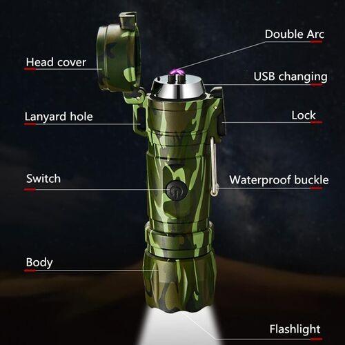 Επαναφορτιζόμενος Αντιανεμικός Αδιάβροχος Αναπτήρας X Arc και Φακός LED (Φωτισμός)